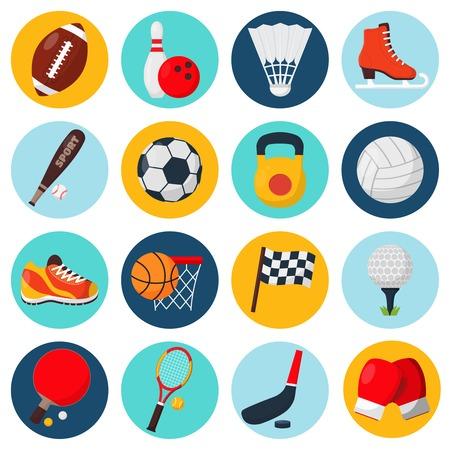 icono deportes: Iconos del deporte establecidos con guantes de balones de fútbol campo de tenis de mesa patín bolos equipos aislados ilustración vectorial