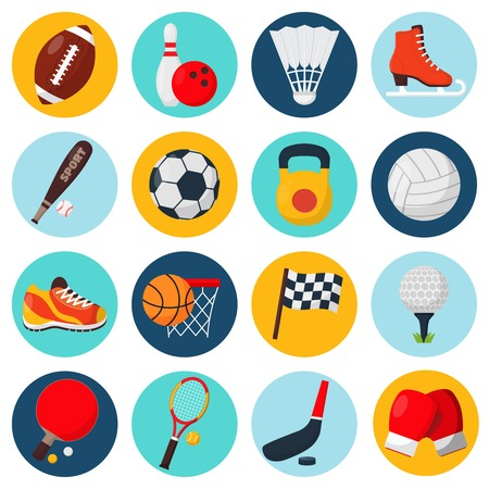 sport balls: Sport icons set with soccer golf table tennis balls gloves skate bowling equipment isolated vector illustration