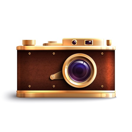 Retro style professional equipment photo camera isolated on white background vector illustration