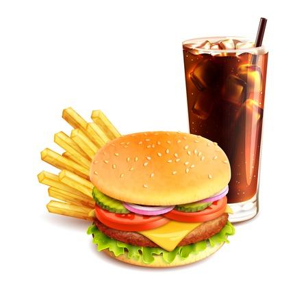 白い背景のベクトル図に分離されたハンバーガー フライド ポテトとコーラ現実的なファーストフードのアイコン