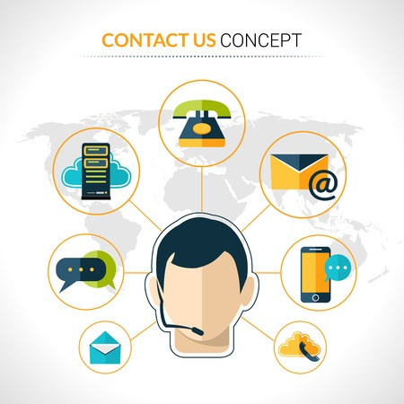 communication concept: Connect us business people social network innovative  electronic technology communication concept poster with operator abstract vector illustration