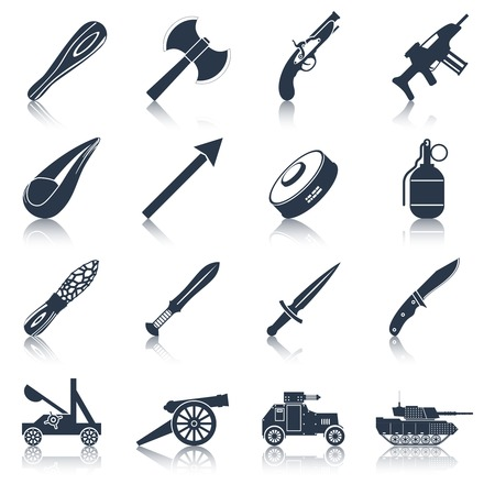 ammo: Weapon icons black set  with military war and police armament isolated vector illustration