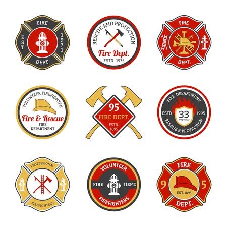 camion de bomberos: Del departamento de bomberos de rescate y protecci�n de los voluntarios y los emblemas de bomberos profesionales conjunto aislado ilustraci�n vectorial