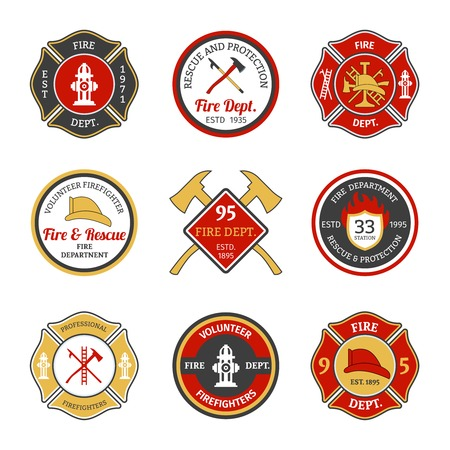 fire truck: Fire department rescue and protection volunteers and professional firefighter emblems set isolated vector illustration