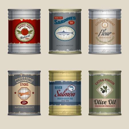 Estaño Alimentación latas oxidadas con sardinas de sopa de tomate harina iconos decorativos establecer ilustración vectorial aislado Ilustración de vector
