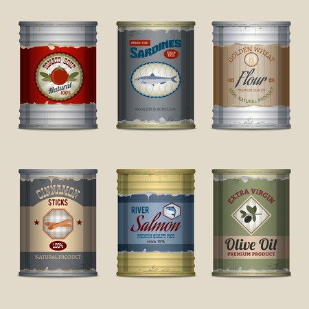 sardinas: Estaño Alimentación latas oxidadas con sardinas de sopa de tomate harina iconos decorativos establecer ilustración vectorial aislado