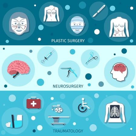 surgical glove: Medical surgery banners set with plastic neurosurgery traumatology isolated vector illustration Illustration