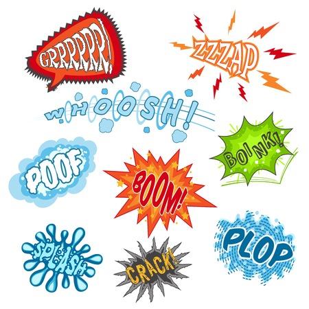 sounds: Comic sounds humour communication cartoon speech bubbles set isolated vector illustration