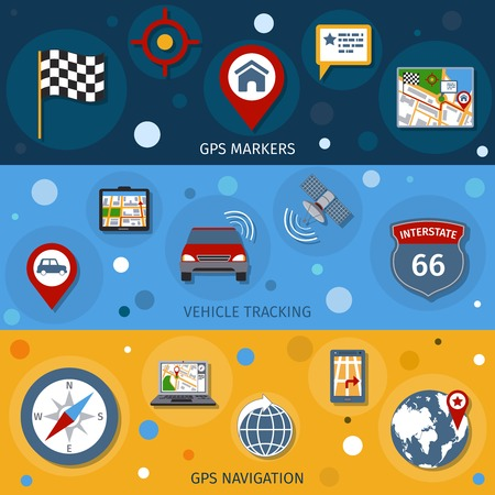 Navigation banners set with gps markers vehicle tracking navigation isolated vector illustration