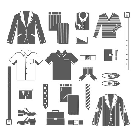 clothes: Business man clothes icons set with shirt tie jacket shoes isolated vector illustration