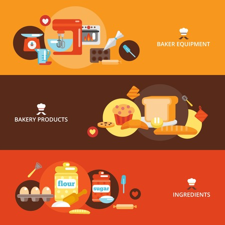 fresh bakery: Bakery flat banner set with products ingredients baker equipment isolated vector illustration.