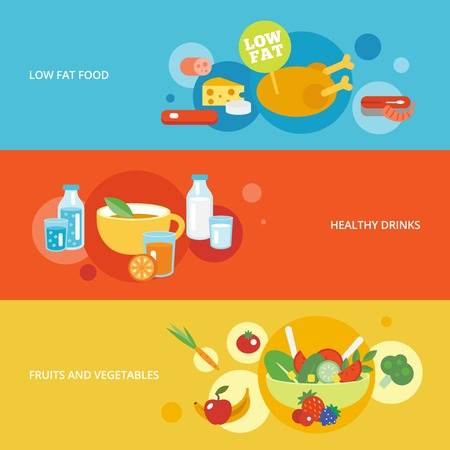 wholemeal: Healthy eating flat banner set with fruits and vegetables drinks low fat food isolated vector illustration