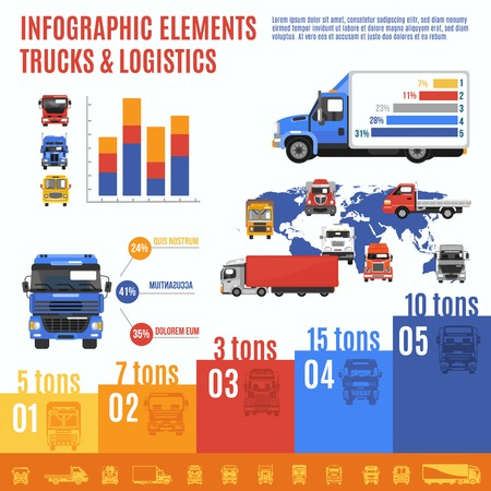 hauler: Truck infographic set with delivering and shipping transport and charts vector illustration