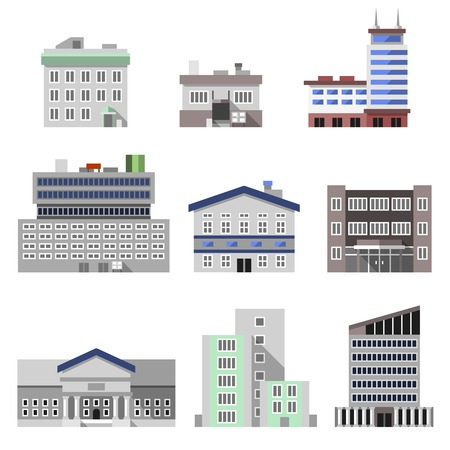 Business modern urban office buildings flat decorative icons set isolated vector illustration Illustration