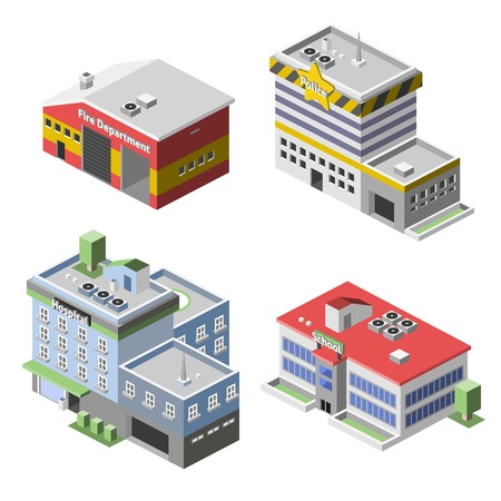 building fire: Government buildings 3d isometric set with fire department police hospital school isolated vector illustration Illustration
