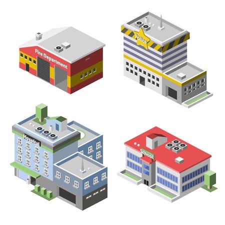 incendio casa: Los edificios gubernamentales 3d conjunto isom�trica con aisladas escuela hospital de la polic�a del departamento de bomberos ilustraci�n vectorial Vectores