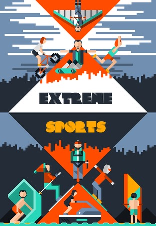 paper kite: Extreme sports poster with pixel people avatars ground water and air activities vector illustration