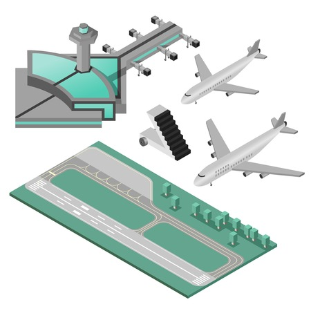 stairway: Airport stairway airplane and runway decorative icons 3d isometric set isolated vector illustration Illustration