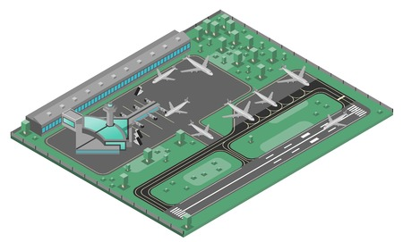 Airport isometric concept with airplanes runway and infrastructure icons set vector illustration Illustration