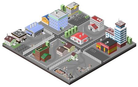 Concepto de zona industrial con la estación de plantas isométricos fábricas policía y fuego edificios de departamentos ilustración vectorial