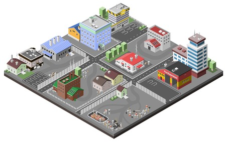 industriales: Concepto de zona industrial con la estaci�n de plantas isom�tricos f�bricas polic�a y fuego edificios de departamentos ilustraci�n vectorial