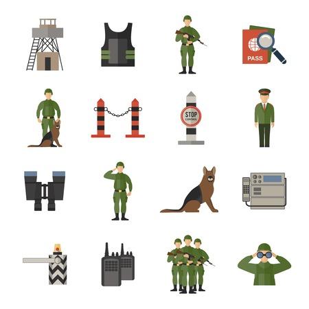 planos: Iconos guardia de fronteras plana establecen con aislados soldado guardia control de pasaportes perro ilustraci�n vectorial Vectores