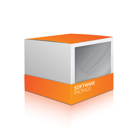 software package: Realistic 3d orange carton software package box isolated on white background vector illustration Illustration