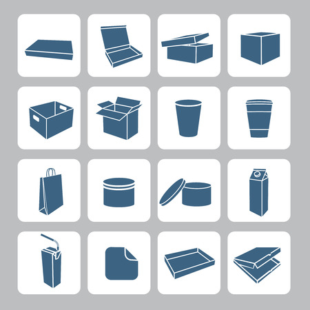 Packaging icons set with plastic and carton delivery boxes containers and cups isolated vector illustration