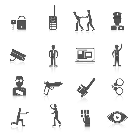computer crime: Security guard black icons set with safety officer weapon prisoner isolated vector illustration Illustration