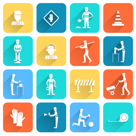 contractor: Road contractor street workers flat white icons set with isolated vector illustration