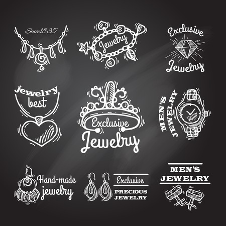 Jewelry chalkboard emblems with cuff links watches bracelets rings set isolated vector illustration
