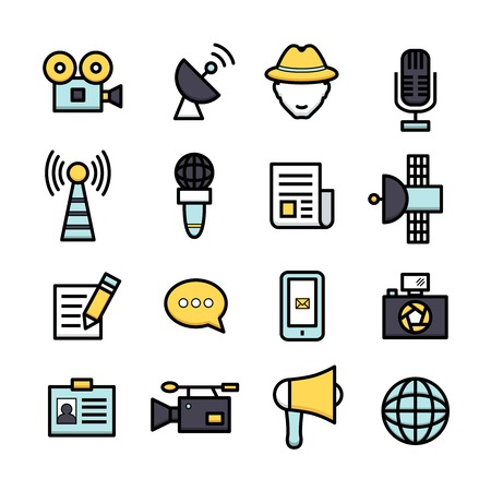 news van: News reporter newspaper journalist television interview icons set isolated vector illustration