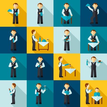 serve: Waiter man avatars in cafe restaurant icon flat set isolated vector illustration Illustration