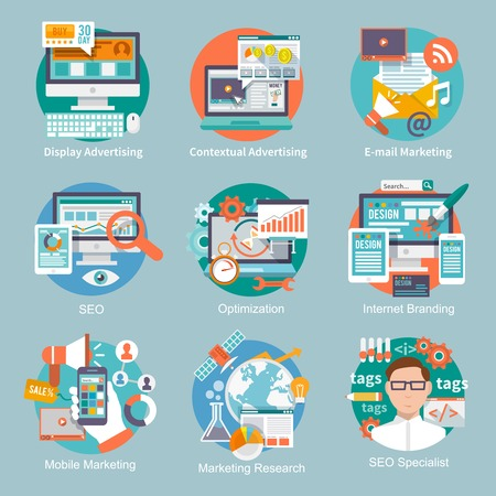mercadeo en red: Seo icono plana internet marketing conjunto con conceptos de marketing de visualizaci�n de publicidad contextual e-mail ilustraci�n vectorial aislado Vectores