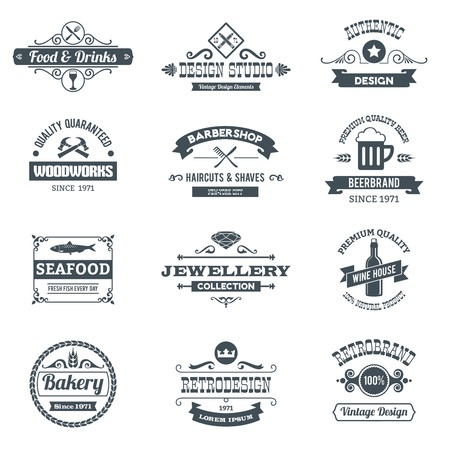 logotipos de restaurantes: Retro emblemas logo negro conjunto con revestimientos de madera aislada restaurante barbería ilustración vectorial