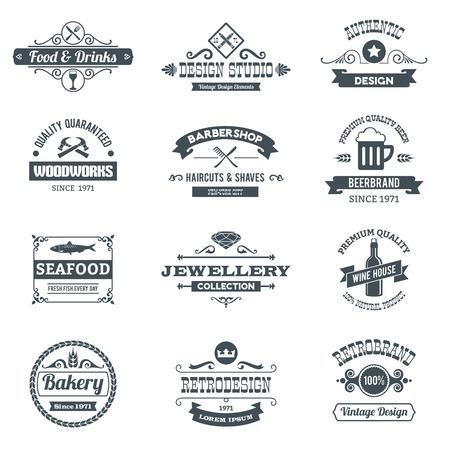 feitas à mão: Retro emblemas logotipo preto definidos com restaurante woodworks barbearia isolado ilustração vetorial Ilustração
