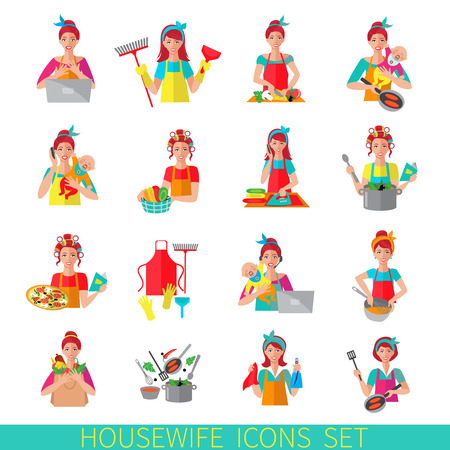 chores: Housewife icon set with woman house working cleaning washing isolated vector illustration