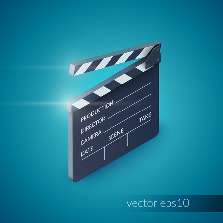 cinematograph: Clapperboard film production industry equipment isolated on blue background vector illustration Illustration