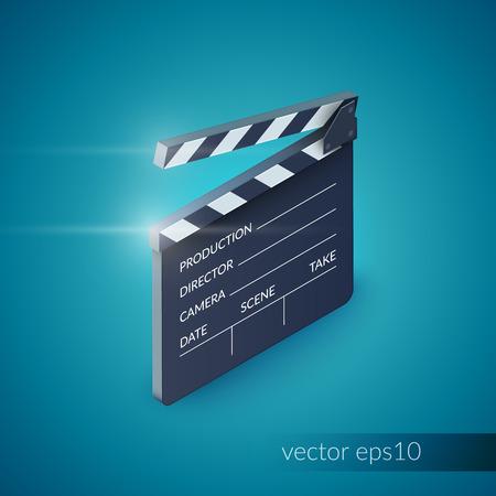 cinematografico: Producci�n de cine equipos Claqueta industria aislada en fondo azul ilustraci�n vectorial