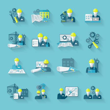 technician: Engineer construction equipment industrial technician workers with fixing tools and gears icons set isolated vector illustration Illustration