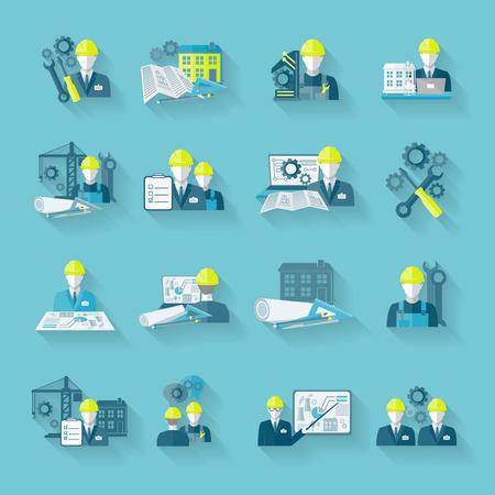 mat�riel chantier: mat�riel de construction de travailleurs Ing�nieur technicien industrielle avec des outils de fixation et engrenages icons set isol�e illustration vectorielle