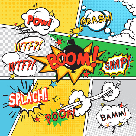 comic book: Comic speech bubbles in pop art style on colored cartoon background vector illustration