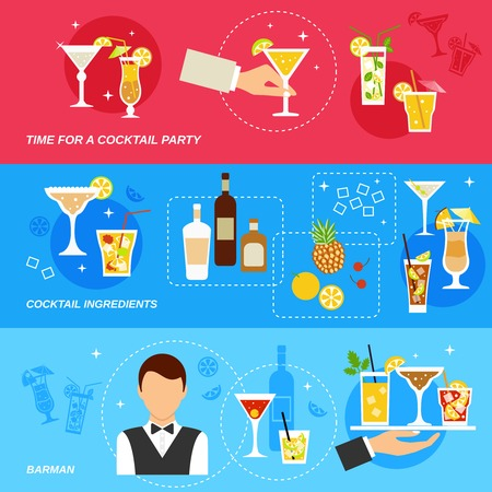 cocktail drinks: Alcohol cocktails banner set with barman ingredients party isolated vector illustration.