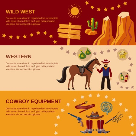 country western: Wild west cowboy equipment western flat banner set isolated vector illustration