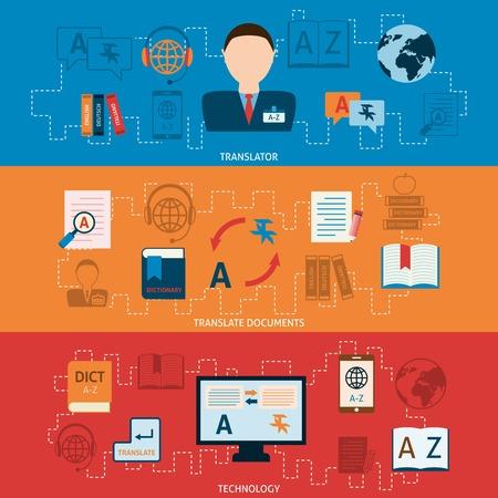 Vertaling interpretatie en elektronische digitale mobiele apparaten interlengual woordenboeken technologie horizontale banners set abstracte plat vector illustratie