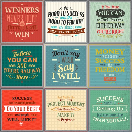 Success money freedom motivational quotes colored emblems set isolated vector illustration