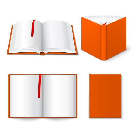 half open: Decorative open closed and half opened hard cover book four 3d pictograms composition poster isolated vector illustration Illustration