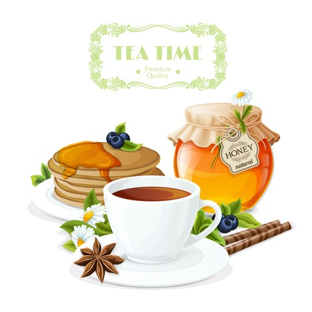 camomile tea: Tea time poster with cup and saucer honey jar and pancakes plate vector illustration. Illustration