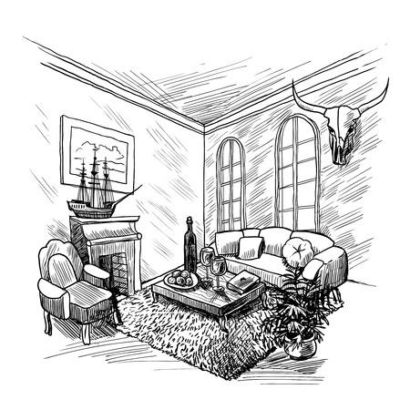 chimney corner: Room interior fondo boceto con chimenea sof� y mesa de ilustraci�n vectorial