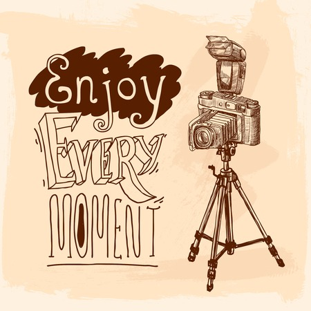 moment: Camera on tripod photo equipment poster with enjoy moment lettering vector illustration. Illustration